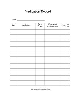 Doctors can provide this printable medical record to patients for tracking medications, frequency and doses. Free to download and print