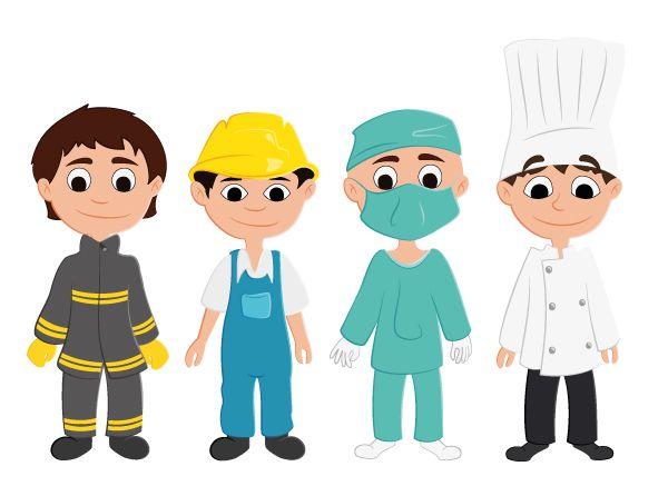 Personnage les métiers, chirurgien, cuisinier...
