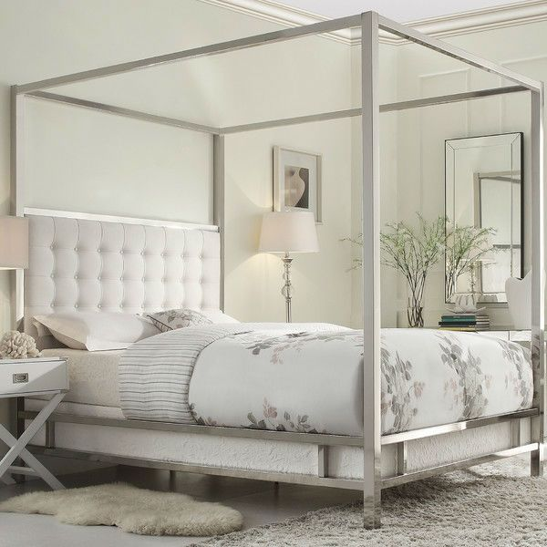 Queen Size Metal Canopy Bed With White Faux Leather Upholstered Headboard Quality House
