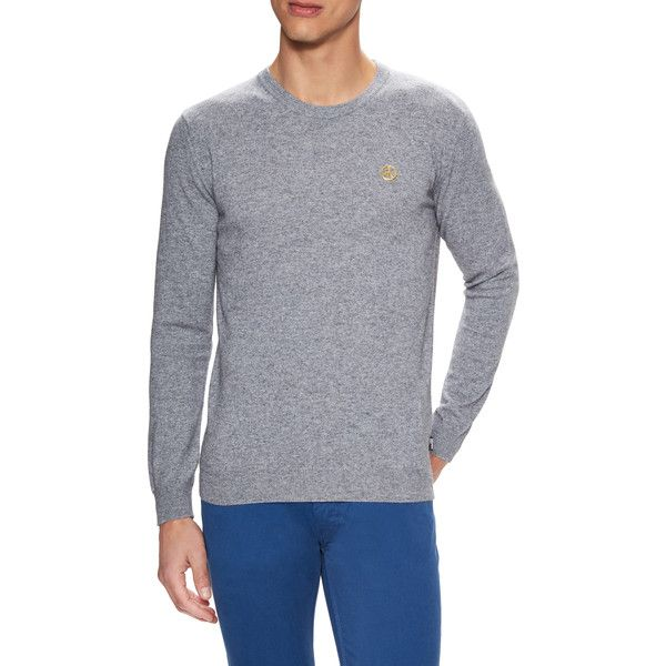 Love Moschino Men's Peace Embellished Crewneck Sweater - Grey, Size L (225 BRL) ❤ liked on Polyvore featuring men's fashion, men's clothing, men's sweaters, grey, mens crewneck sweaters, mens grey crew neck sweater, mens short sleeve sweater, mens sweaters and mens grey sweater