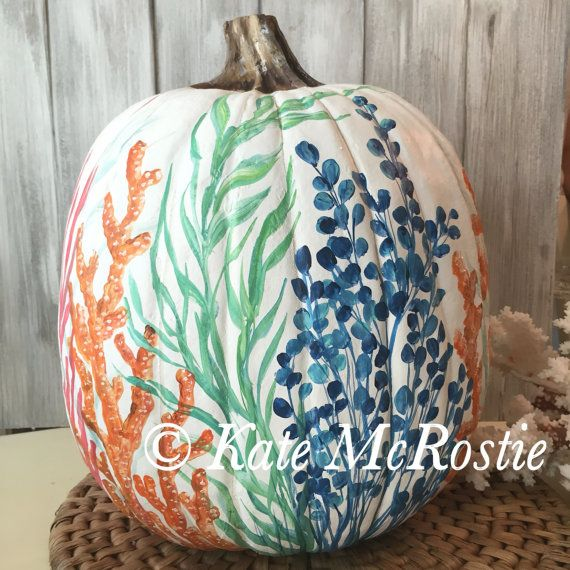 Coastal crab pumpkin | Coastal seahorse pumpkin| pumpkin decor | chinoisorie pumpkin | hand painted pumpkin | coastal fall decor | coastal pumpkin  A hand painted blue crab original with touches of turquoise and coral that would compliment any coastal fall decor.  Approximate dimensions: 12 wide x 14 to top of stem  Thank you for visiting my shop!  * Copyright of Artworks with artist, even after the sale of original artwork. * Any reproduction of this artwork is prohibited by law without the…