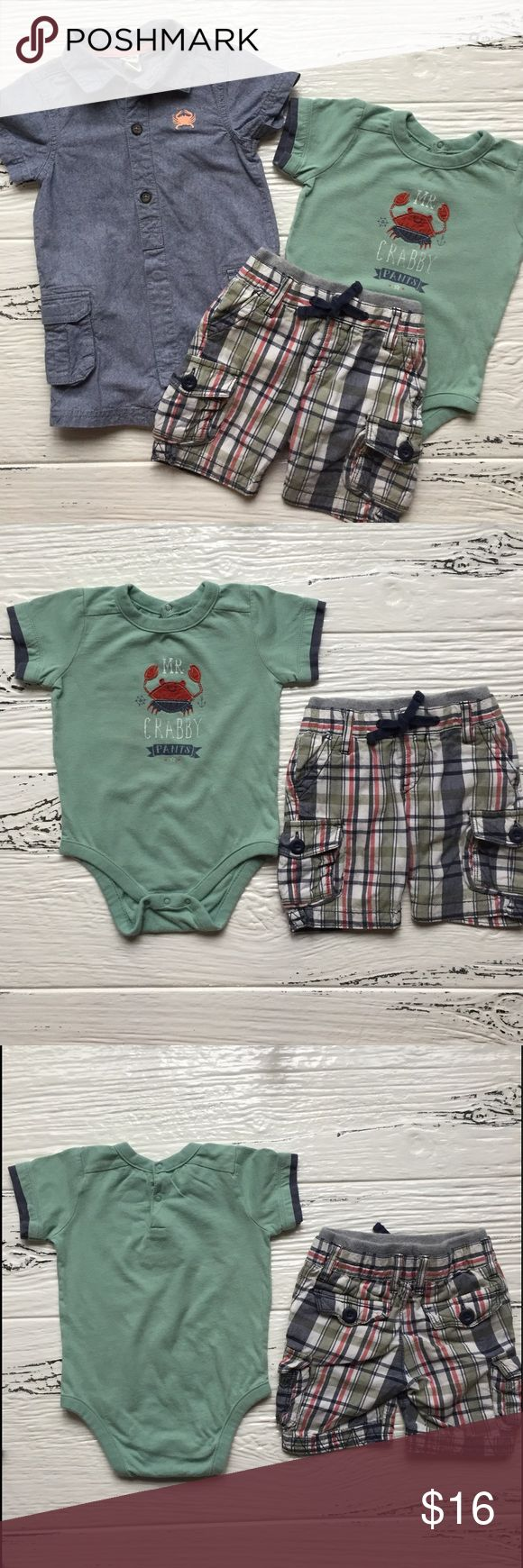 Mr. Crabby Pants 🦀 Gap 6-12M Mr. Crabby Pants matching outfit.  Top shows wear but is still adorable.  Cherokee brand 9M 🦀 romper, excellent used condition. GAP Matching Sets