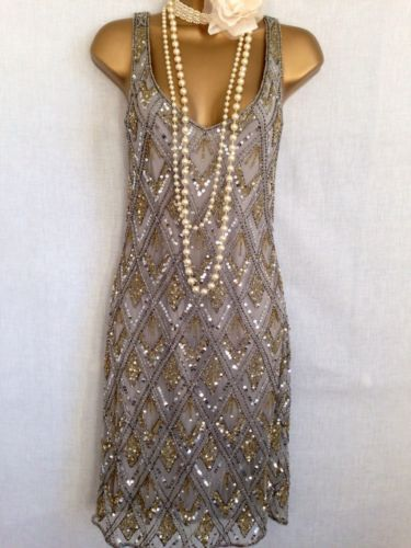 20 S Gatsby Charleston Style Gold Silver Sequin Bead Dress