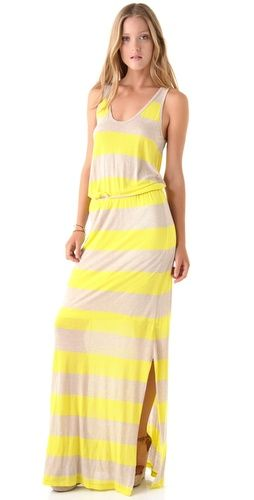 neon stripe summer maxi dress
