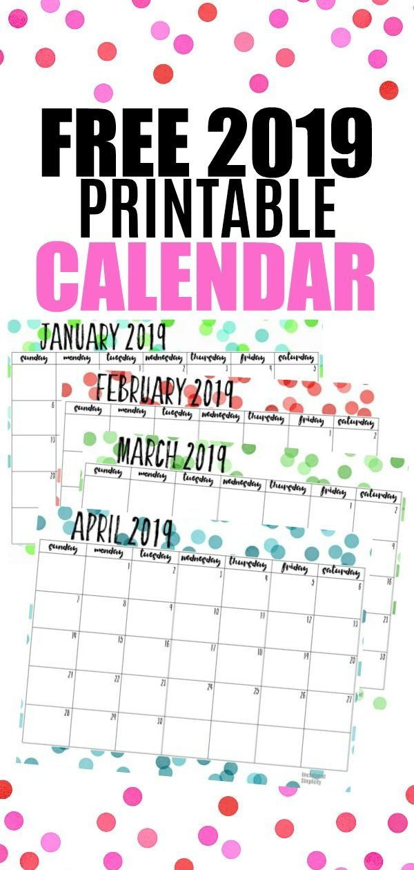 Free Printable 2019 Calendar With Important Dates To Remember