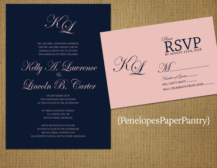 Elegant Navy and Blush Wedding Invitations,Shimmery,Traditional,Formal,Simple,Chic,TImeless,Opt RSVP Card,Customizable With White Envelopes by PenelopesPaperPantry on Etsy https://www.etsy.com/listing/261723613/elegant-navy-and-blush-wedding