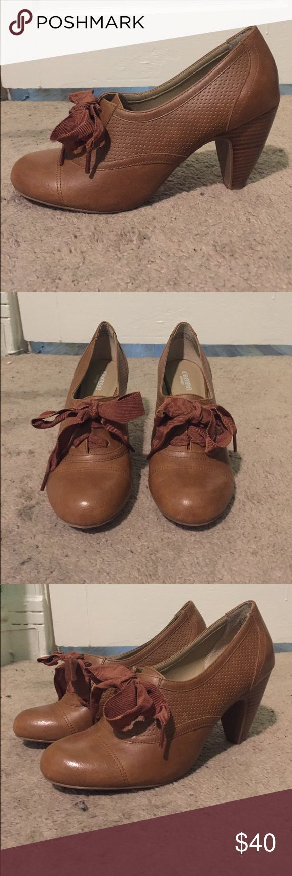 Brown Oxford Heels with Ribbon Laces Totally sweet, totally romantic, old fashioned Oxford heels. Worn once and too small for me, otherwise I'd keep them. So cute with skinny jeans, tights, or skirts. Shoes Ankle Boots & Booties