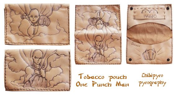 Handmade leather tobacco pouch One Punch Man by ChibiPyroFable    #chibipyro #artisan #craft #shop #leather #wood #woodburning #fire #fan #art #artisan #craft #handmade #etsy #shop #pyro #pyrography #burn #burning #fire #drawing #woodburner #cork #recycled #purse #comb #hairbrush #note #book #sketch #tobacco #pouch #bookmark #pochette #box #pencil #case