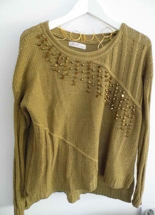 Oliwkowy sweterek dżety oversize S M