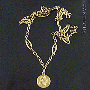 Gold St Christopher Medal On Fancy Gold Chain.
