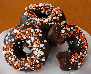 Homemade Baked Chocolate Halloween Donuts - great recipe!