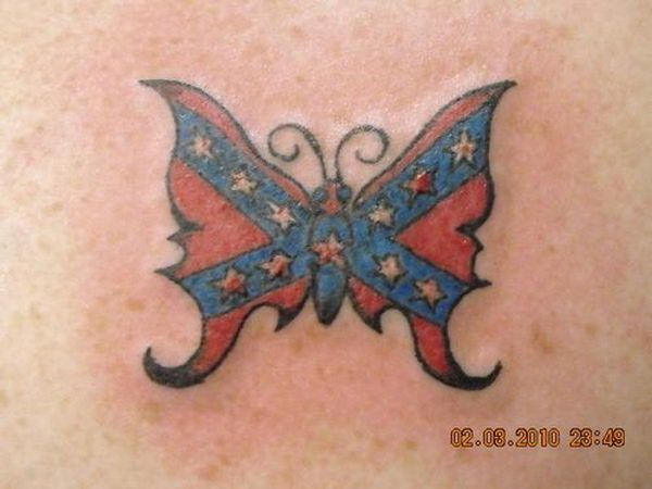 Rebel Flag Butterfly - Cool Rebel Flag Tattoos, http://hative.com/30-cool-rebel-flag-tattoos/,