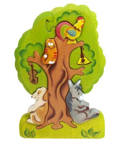 Пазл Бременские музыканты на дереве (14х20 см; 8 частей) Сказки дерева