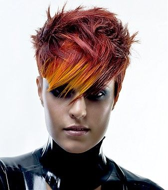 A medium brown straight spikey coloured multi-tonal hairstyle by Joico