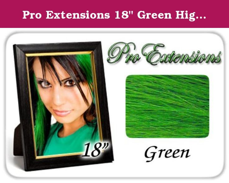 """Pro Extensions 18"""" Green Highlight Streaks Clip-in Human Hair Extensions. Our 100 percent human hair streaks are made from the highest quality human hair. These streaks are graded A+ quality. Bright clip-in highlights or vivid clip-in lo-lights are a fun and an easy way to add color to your hair without making a permanent commitment. Each kit contains six wefts of hair that are 1.5 inches wide and 18 inches long. Available in an assortment of fun colors, these highlights are a fun and…"""