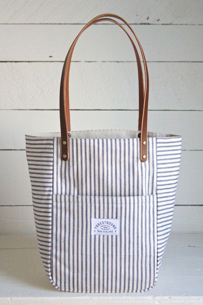 1940's era Ticking Fabric Pocket Tote Bag