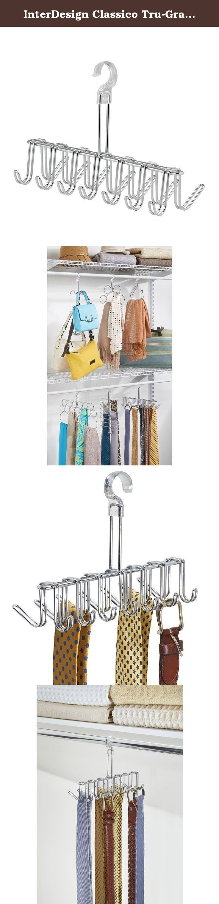 """InterDesign Classico Tru-Grasp Closet Organizer Rack for Ties, Belts - Chrome/Clear. InterDesign's Tru-Grasp collection won't rock or fall off the rod when you grab your accessories. This Tie/Belt Rack """"snaps"""" onto your 1"""" rod for a secure fit. Great for ties, belts and more."""