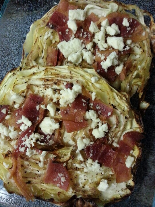 Roasted Cabbage w/bacon & feta cheese crumbles - preheat oven to 425. Slice cabbage, place on cookie sheet & brush with olive oil. Season with black pepper, LIGHTLY drizzle with red wine vinegar. Bake 30-35 mins. Top with cooked bacon & feta, return to oven for 5-10 mins