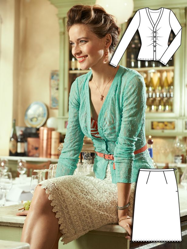 Adorable lace cardigan and lace skirt sewing patterns from Burda Style