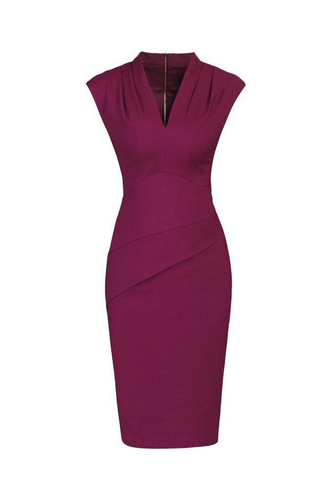 Purple Berry V Neck Capped Sleeve Ruched Waist Pencil Dress