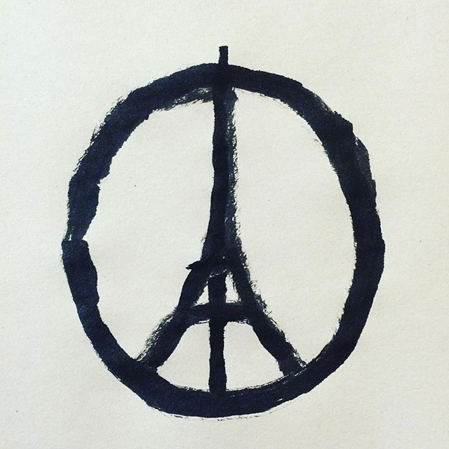 "Please- let us all give Peace a chance. Love is powerful, it will prevail. Pass it on. ""Peace for Paris"" Illustration by @jean_jullien #jesuisparis"