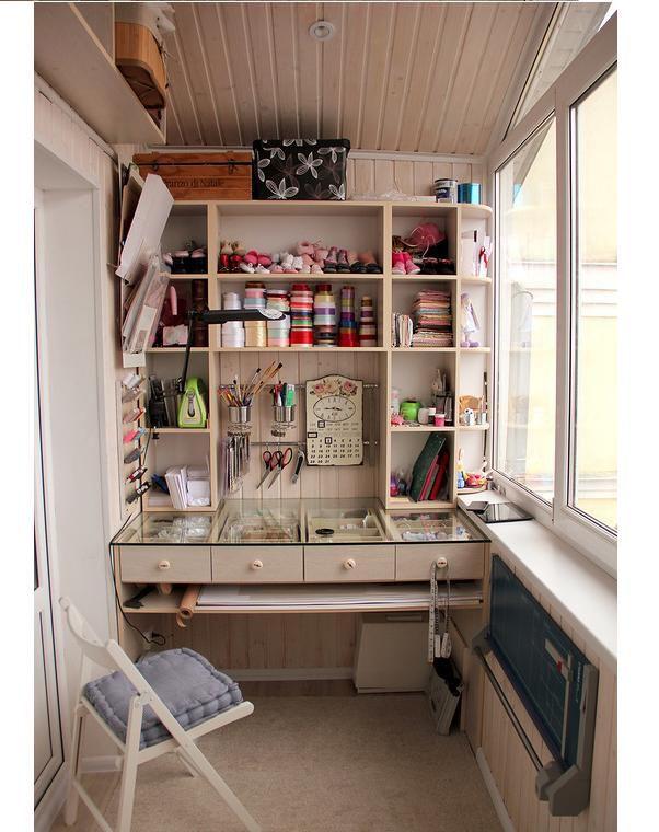 Лоджия — практичное рабочее место для рукодельницы: 15 вариантов организации творческого пространства - Ярмарка Мастеров - ручная работа, handmade