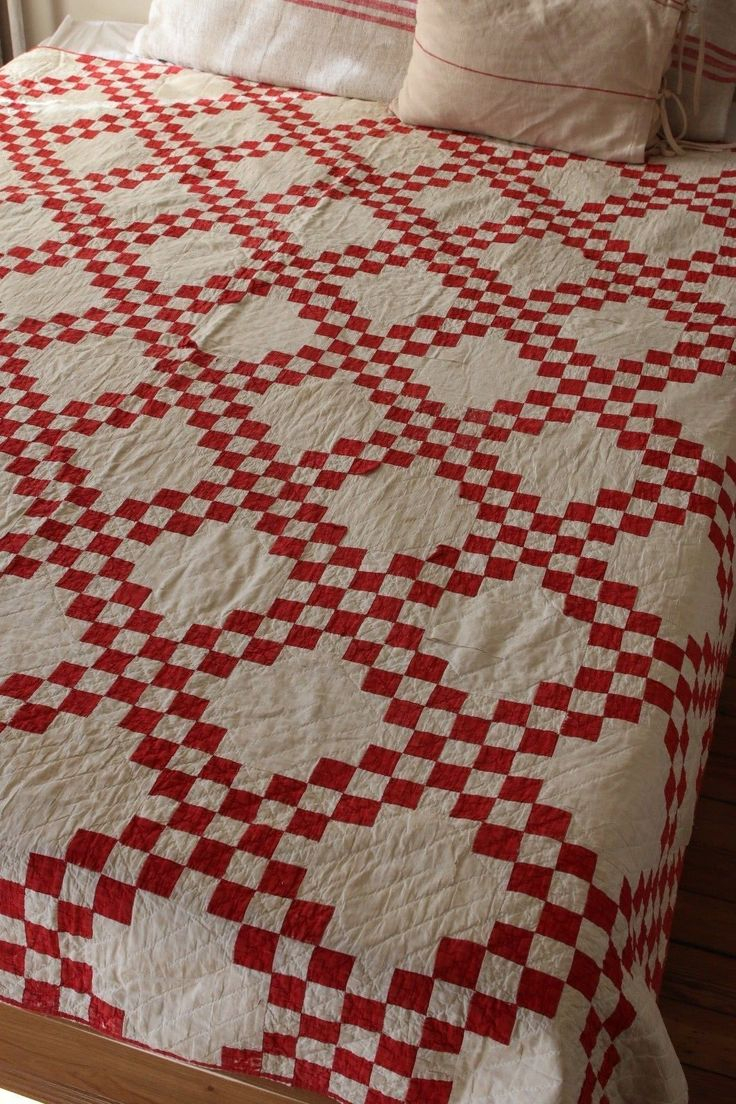 Lovely Vintage Antique Handmade Patchwork Quiltred White American | eBay seller vidyaerica; old, thin patchwork, in family for generations, may have been made about 1910; shown on queen sized bed