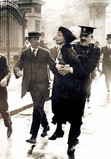 Cannon Row Superintendent Rolfe Arresting Emiline Pankhurst, Suffragette, O/S Buckingham Palace, Westminster, SW1, London, UK. 1914. by sgterniebilko, via Flickr