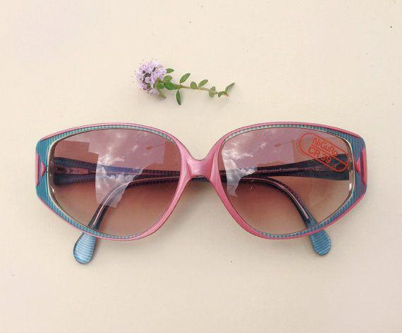 80s Nigura sunglasses / Nos Vintage deadstock frames / cateye blue pink sunglasses / Germany women's Eyewear by Skomoroki