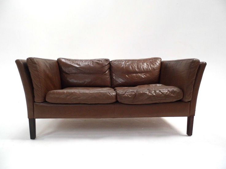 Danish Olive Brown Leather 2 Seater Sofa Mid Century 1960s