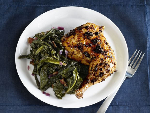 White House Garden Herb-Roasted Chicken with Braised Greens recipe from Food Network Magazine via Food Network