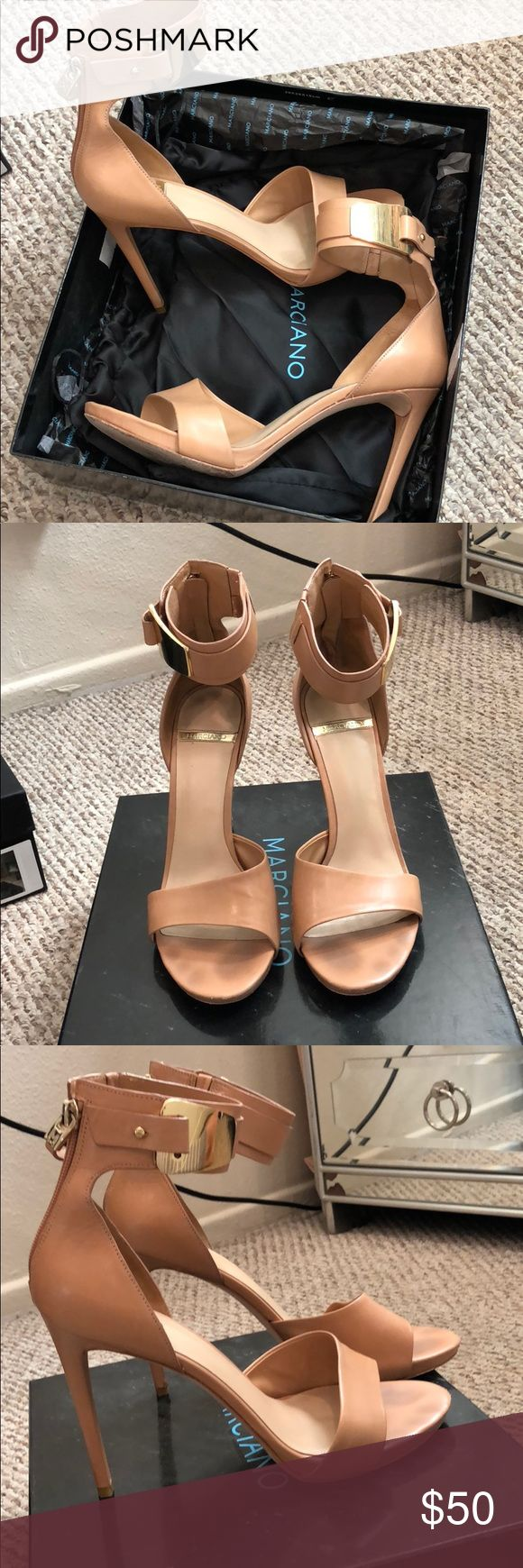 Marciano Genuine Leather heel with metal detail Genuine leather. Nude with gold buckle detail. Zip up back. Super comfy. Original box and dust bag included. NO TRADES. Marciano Shoes Heels