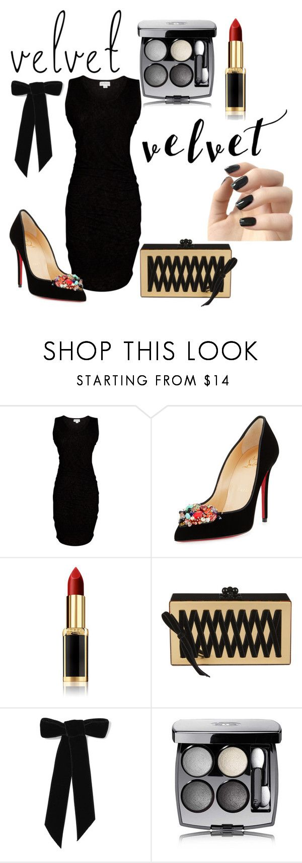 """""""Black Velvet"""" by audreybrookezaring ❤ liked on Polyvore featuring Velvet by Graham & Spencer, Christian Louboutin, L'Oréal Paris, Edie Parker, Jennifer Behr, Chanel and Incoco"""
