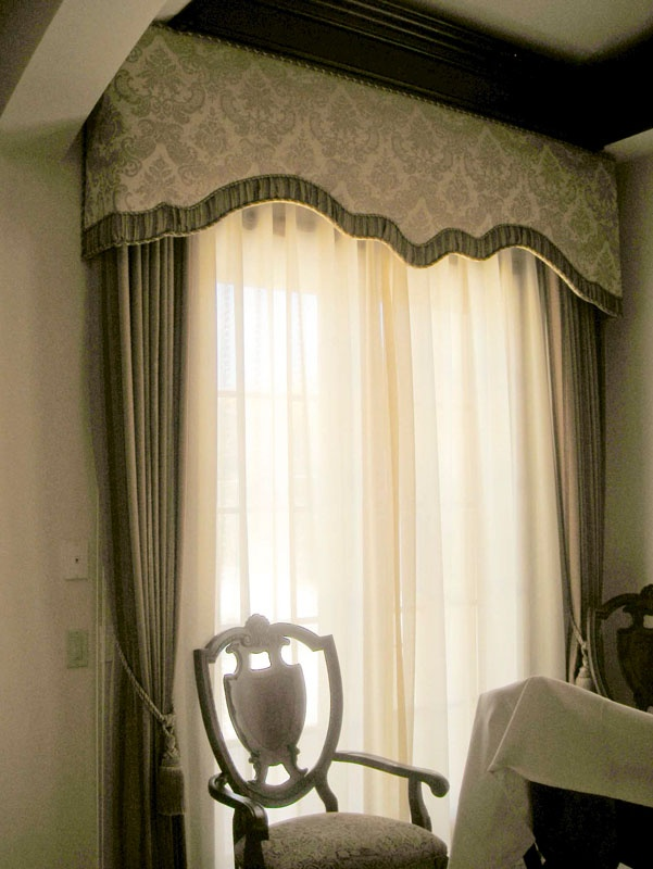 Shaped Cornice Box With Rope Trim Detail And A Gathered Fabric Edge In The  Drape Fabric