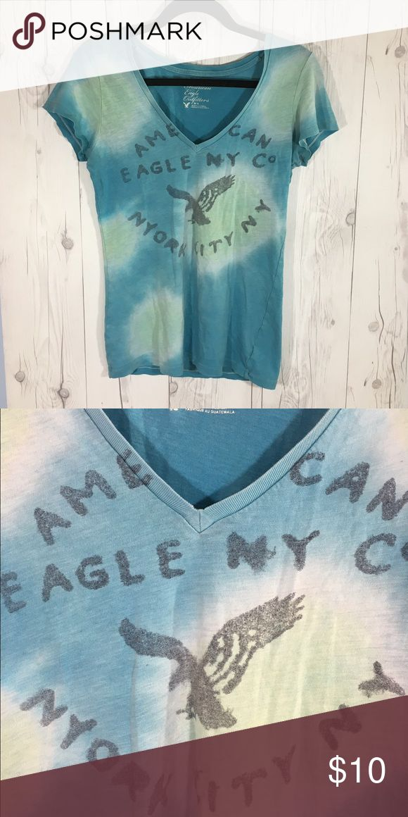 American Eagle Tye-Dye T Shirt American Eagle Tye-Dye T shirt, colors green and blue. V-neck. Semi faded. Decently used, but still in great condition! American Eagle Outfitters Tops Tees - Short Sleeve