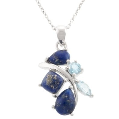 """Amazon.com: Sterling Silver Lapis and Blue Topaz Abstract Pendant Necklace, 18"""": Jewelry"""