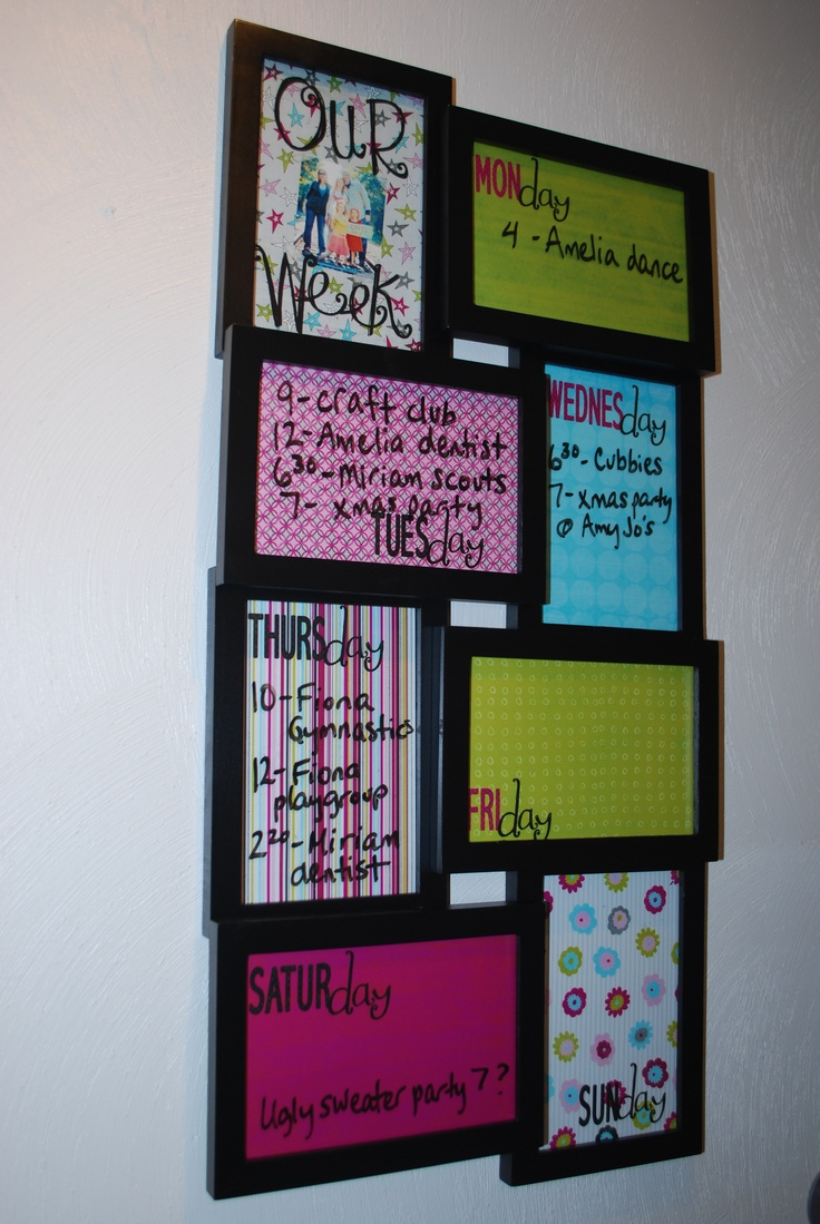 Scrapbook paper organization ideas - Weekly Schedule Dry Erase Board With Scrapbook Paper Background Picture Frame