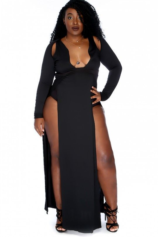 3c7e2441624 Sexy Black Long Sleeve Plunging Neckline High Side Slit Plus Size ...