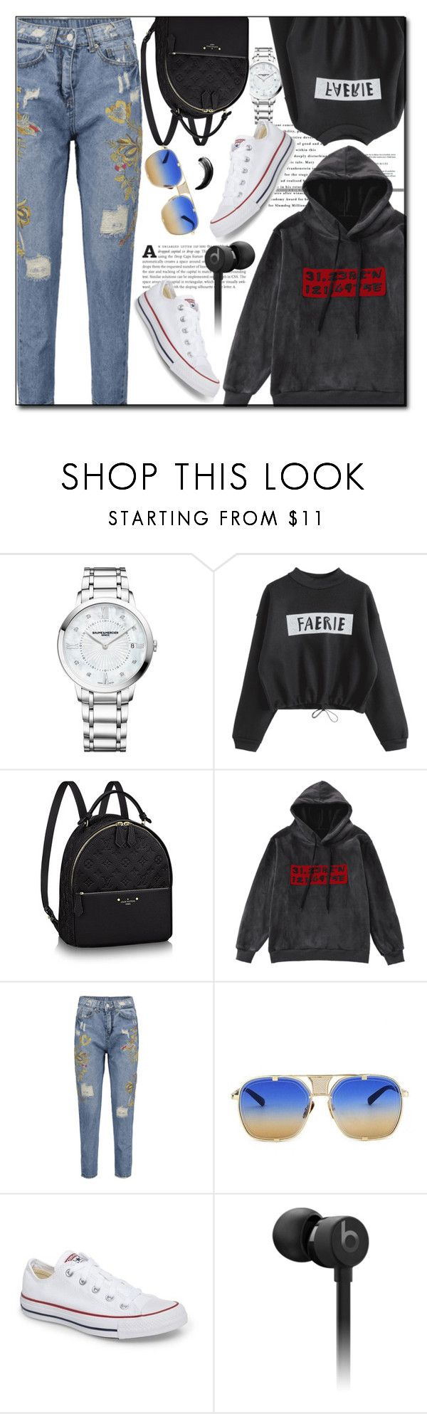 """I'm Thankful"" by sabinn ❤ liked on Polyvore featuring Baume & Mercier, Converse, Beats by Dr. Dre, sporty, velvet, polyvoreset and zaful"