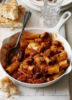 Pasta with smoky sausage ragu