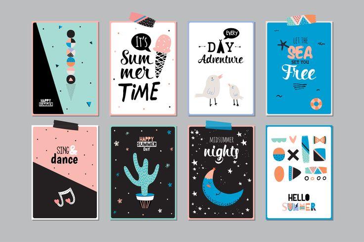 Summer cards & posters & patterns by Ruslana Vasiukova on @creativemarket