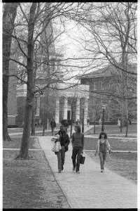 People walk through College Green at Ohio University, 1980 :: Ohio University Archives