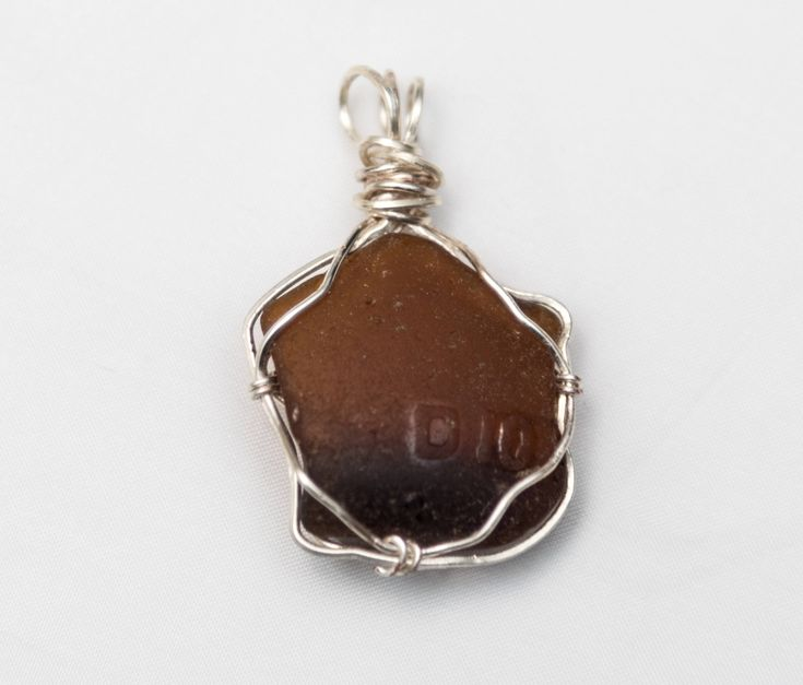 Amber Beach Glass Pendant #24 - 42 mm tall 26 mm wide Sea Glass Pendant - Shipping is on Us at Everything Vintage by EverythingVintageBC on Etsy