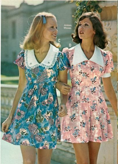 70s baby doll mini dress floral pink blue white collar vintage fashion style print ad models Kathy Loghry Blogspot: K Club Special Part 3 - Colleen Corby