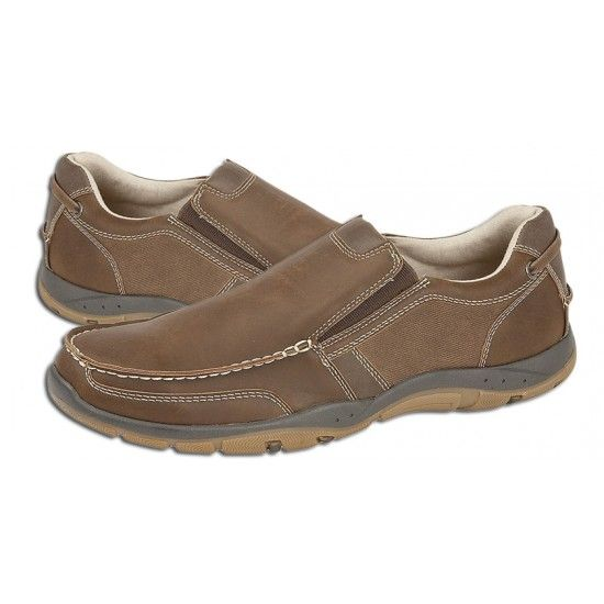 Mens Leisure Shoes Elastic Gusset Casual Slip-on in Brown Grain PU