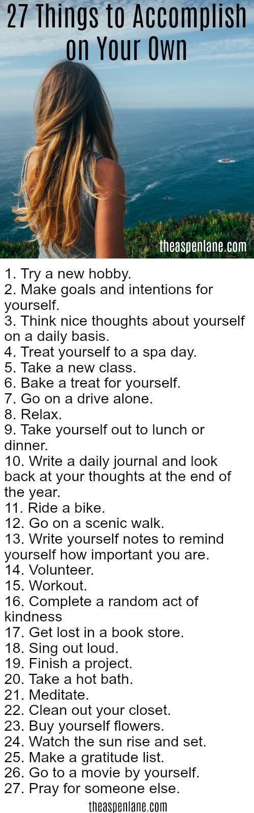 Things to accomplish on your own