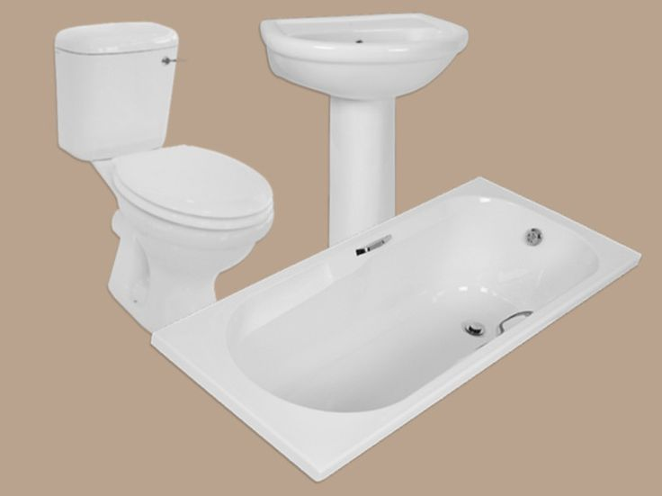 Coral White Front Flush Toilet Suite, Bath, Basin & Pedestal Set