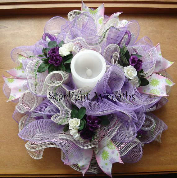 Purple and Creme Roses Burlap and Mesh Table by StarlightWreaths
