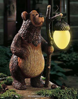 barney bear woodland solar garden statue - Solar Garden Decor