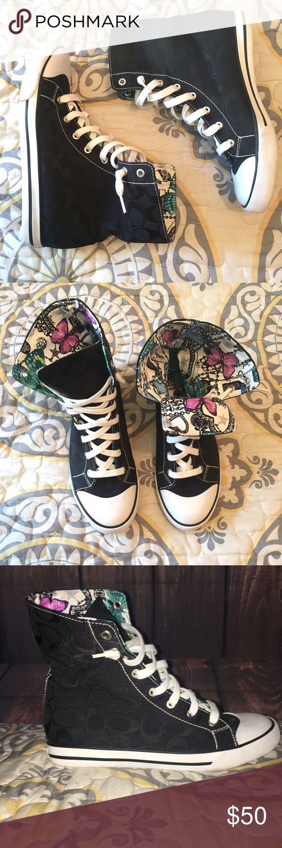 Coach Bonnie High Top Sneakers Like NEW Black High Top COACH Bonnie Sneakers With butterfly silk Pattern inside to flip out the tongue ! I've only wore them about 2 to 3 times ! My feet are too wide for them ! They belong to a Fashionista to rock them !!💙 Price is Firm🌍 Coach Shoes Sneakers